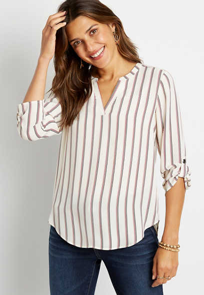 White Stripe V Neck Popover Blouse