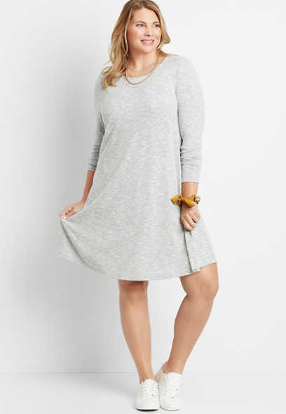 Plus Size Gray Paisley Tie Back Mini Shift Dress