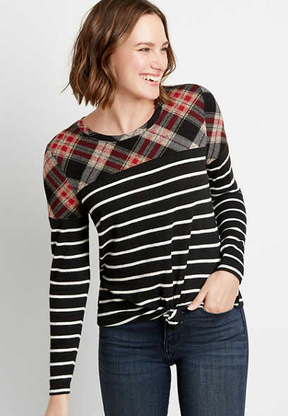 24/7 Plaid Stripe Blocked Football Tee