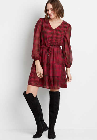 Buffalo Plaid Tiered Drawcord Waist Mini Dress