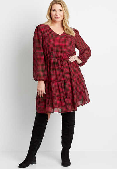 Plus Size Buffalo Plaid Tiered Drawcord Waist Mini Dress