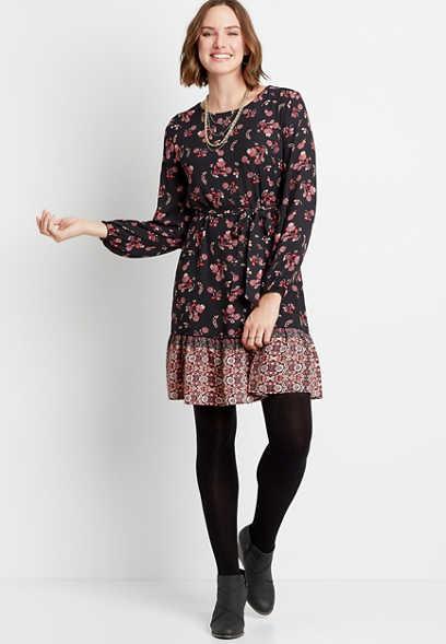 Maurices Black Floral Tie Waist Long Sleeve Mini Dress