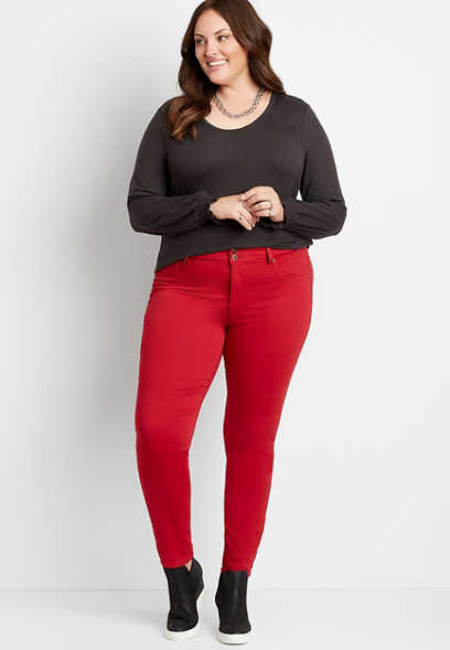 Plus Size High Rise Red Double Button Jegging Made With REPREVE®