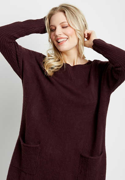 Solid Double Pocket Oversized Tunic Pullover Sweater