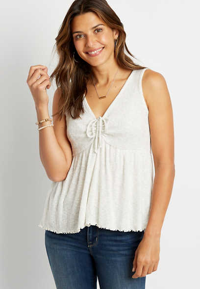Solid Cinch Front Ribbed Tank Top