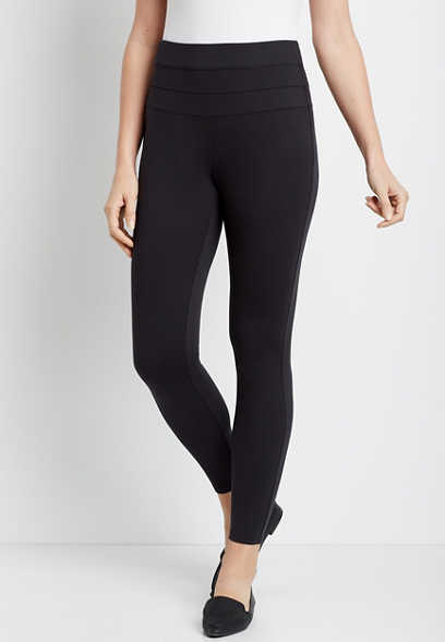 Black High Rise Ponte Knit Stacked Waist Skinny Ankle Pant