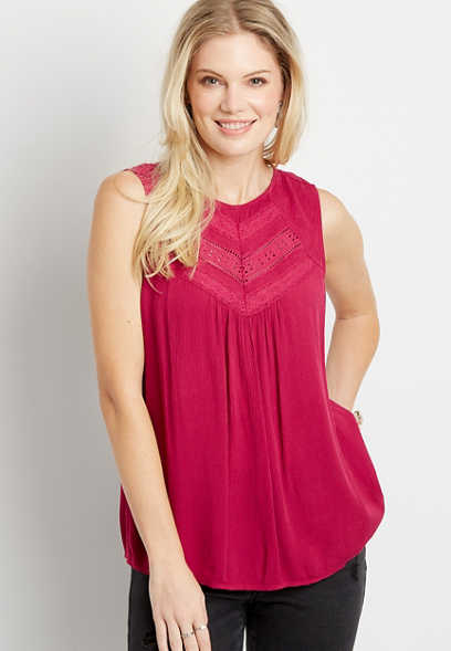 Solid Lace Inset High Neck Tank Top