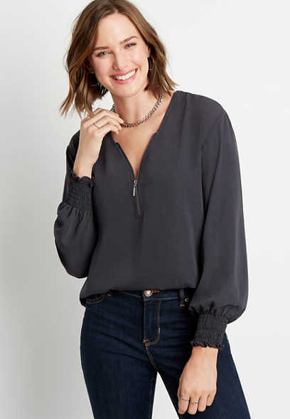 Gray Zipper Neck Blouse