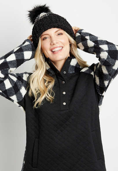 Buffalo Plaid Quilted Front Snap Sherpa Pullover Sweatshirt