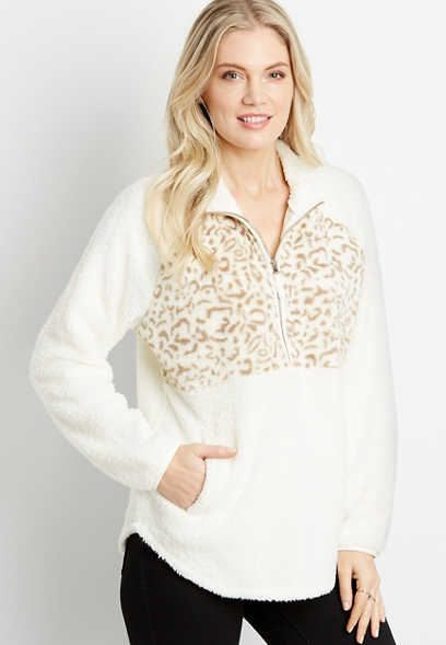 White Leopard Front Sherpa Pullover Sweatshirt