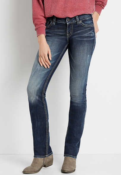 Silver Jeans Co.® Suki Dark Wash Thick Stitch Straight Leg Jean
