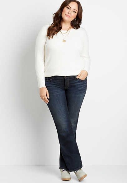 Plus Size Silver Jeans Co.® Suki Dark Wash Navy Stitch Slim Boot Jean