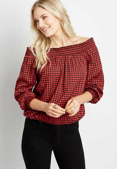 Red Checker Print Smocked Off The Shoulder Top