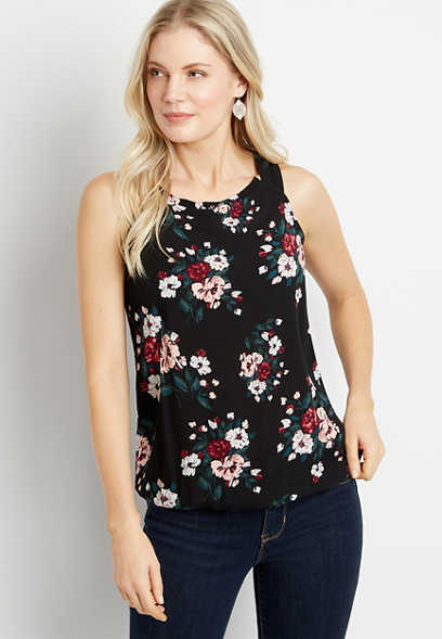 Black Floral Halter Neck Tank Top