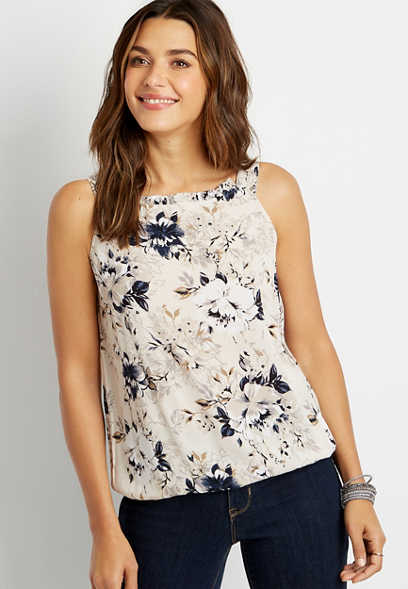 White Floral Halter Neck Tank Top