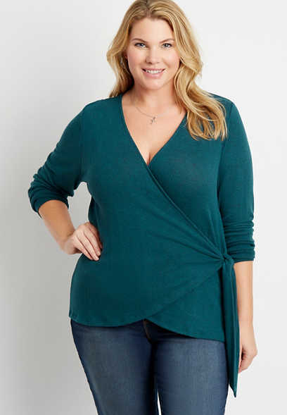 Plus Size 24/7 Solid Cozy Tie Wrap Long Sleeve Tee
