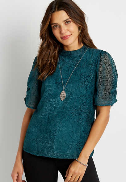 Solid Burnout Mock Neck Puff Sleeve Top