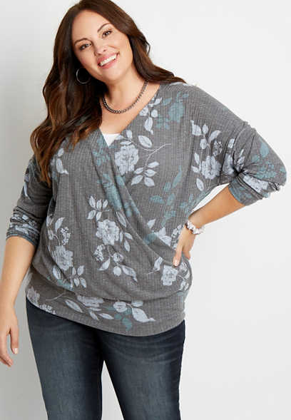 Plus Size Gray Floral Ribbed Wrap Top
