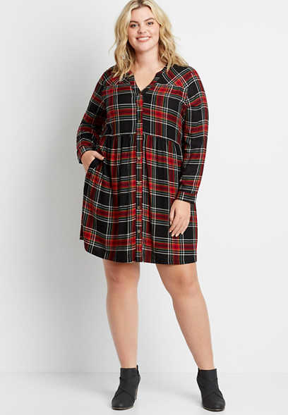 Plus Size Black Plaid Button Front Babydoll Shirtdress