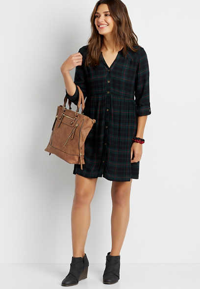 Green Plaid Button Front Babydoll Shirtdress