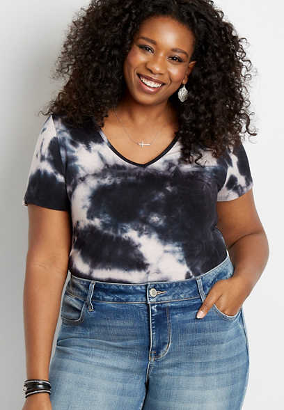 Plus Size 24/7 Black Tie Dye Tuck In Tee