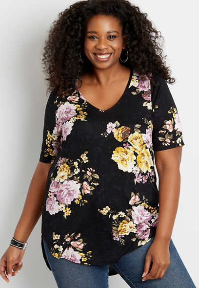 Plus Size 24/7 Flawless Black Floral Tee