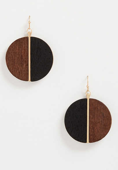 Brown Black Split Wood Drop Earrings