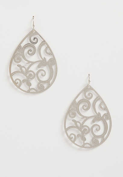 Silver Scroll Cut Out Teardrop Earrings