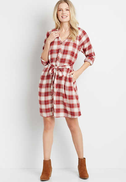 Plaid Button Front Tie Waist Long Sleeve Shirt Dress