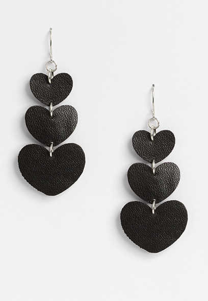 Black Faux Leather Hearts Drop Earrings