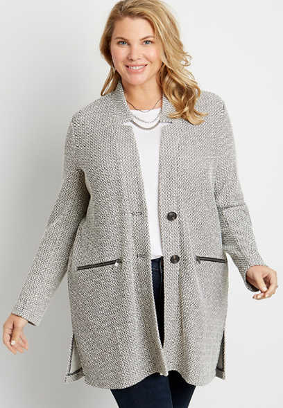 Plus Size Gray Button Front Cardigan Coat