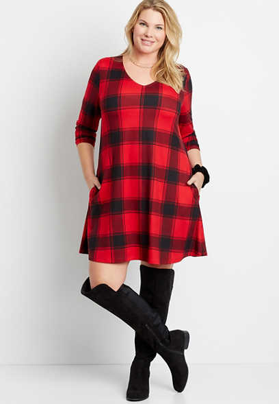 Plus Size Red Buffalo Plaid V Neck Pocket Long Sleeve Shift Dress