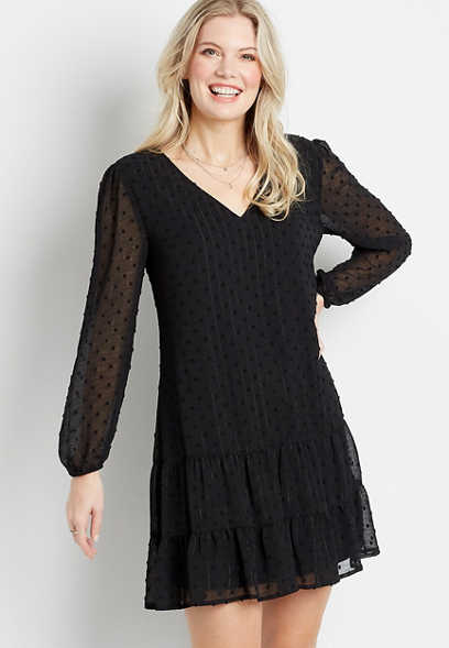 Black Metallic Swiss Dot Babydoll Dress