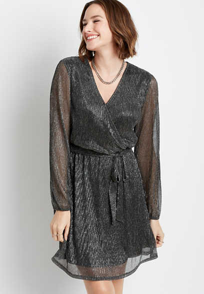 Black Metallic Wrap Tie Waist Mini Dress