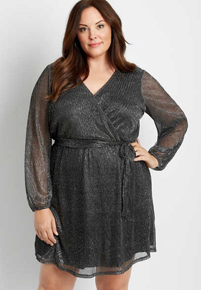 Plus Size Black Metallic Wrap Tie Waist Mini Dress