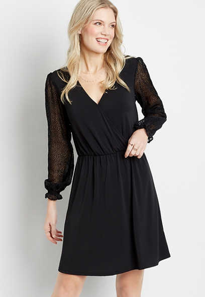 Black Sheer Velvet Dot Sleeve Mini Dress