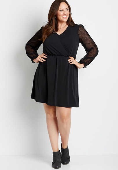 Plus Size Black Sheer Velvet Dot Sleeve Mini Dress