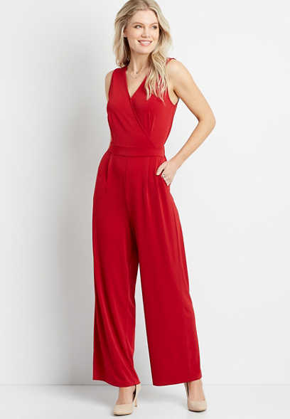 Red V Neck Pocket Jumpsuit