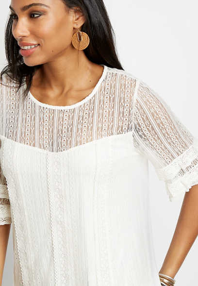 White Lace Mesh Short Sleeve Top