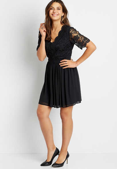 Black Lace Bodice V Neck Mini Dress