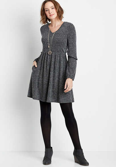 Gray Knit Ruffle Sleeve Pocket Mini Dress