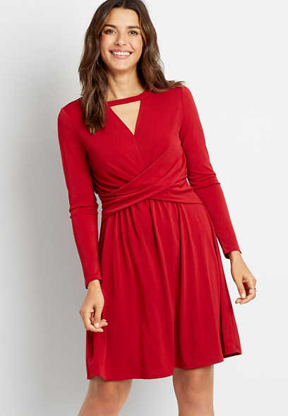 Red Twist Waist Cut Out Neck Mini Dress