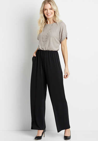Shimmer Top Short Sleeve Pocket Jumpsuit