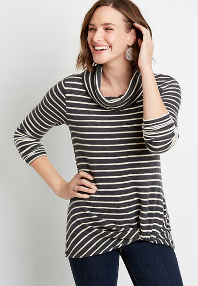 24/7 Gray Stripe Cowl Neck Knot Hem Tee