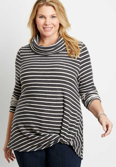 Plus Size 24/7 Gray Stripe Cowl Neck Knot Hem Tee