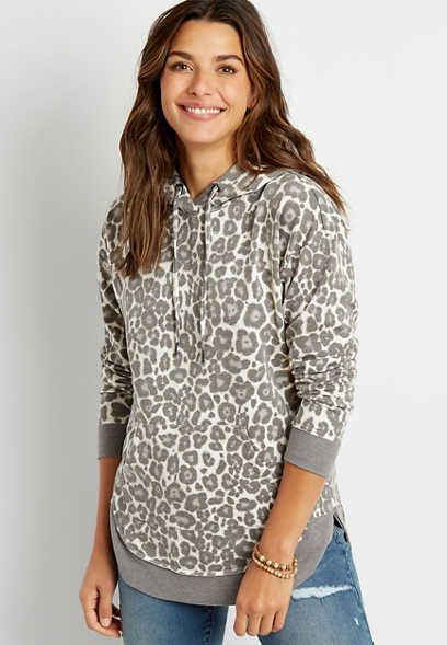 Gray Leopard Pullover Hoodie