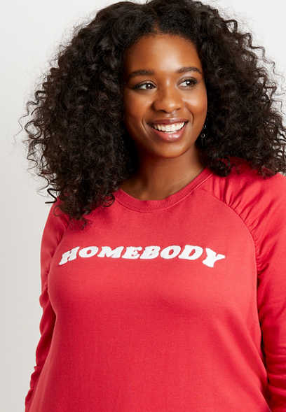 Plus Size Red Homebody Crew Neck Pullover Sweatshirt