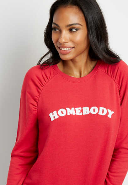 Red Homebody Crew Neck Pullover Sweatshirt