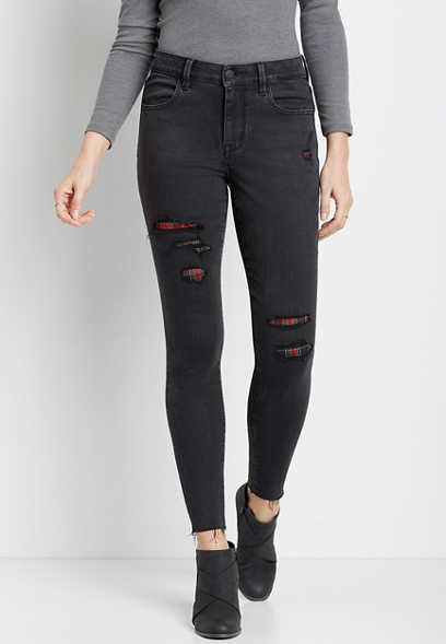 DenimFlex™ Black Tartan Plaid Backed Destructed Jegging