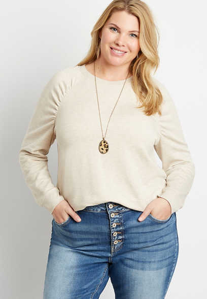 Plus Size Solid Crew Neck Pullover